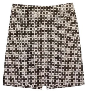 Max Mara Cream & Brown Square Print Skirt