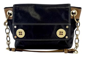 MILLY Black Tan Leather Shoulder Bag