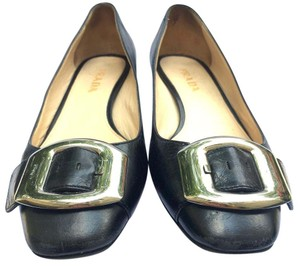 Prada Block Heel Leather Buckle Black Pumps
