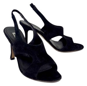 Manolo Blahnik Black Suede Cut Out Heels Sandals