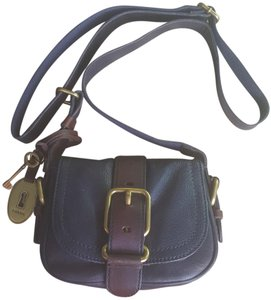 Fossil Vintage Dark Blue Brown Antique Leather Cross Body Bag