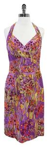 Kay Unger Multi Color Floral Print Silk Halter Dress