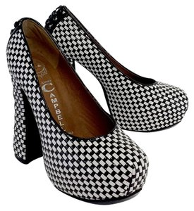 Jeffrey Campbell Black White Checker Platform Pumps