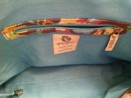 Spartina 449 Leather Linen Floral Summer Fuskie Lane Tote in brown aqua pink multi