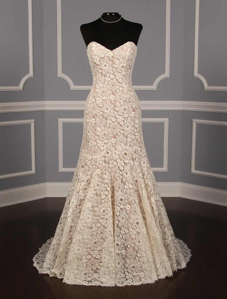 Anna maier ulla maija ivory with taupe lining french for Taupe lace wedding dress