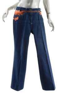 Chlo Chloe Shrimp Cotton Straight Pants Denim Blue
