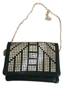 Silence + Noise Black with gold studs Clutch
