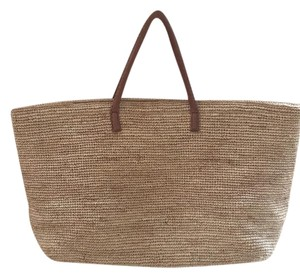 Hat Attack Natural & Tan Beach Bag