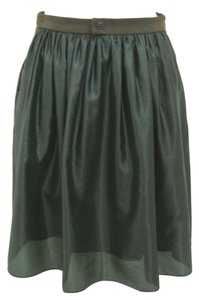 Creatures of The Wind Gathered Metallic Wool Skirt green