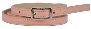 Saint Laurent New Saint Laurent YSL Women's 334271 Blush Pink Leather Skinny Belt 32 80