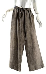 Eskandar Dark Linen Drawstring Relaxed Pants Brown