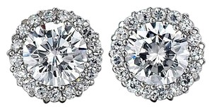 Avi and Co 2.34 cttw Round Brilliant Cut Diamond Halo Stud Earrings 14k White Gold