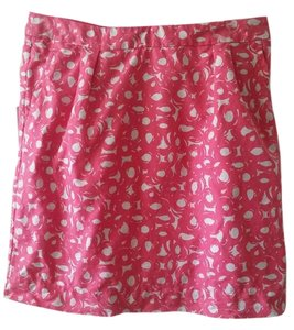 Boden Cotton-linen Graphic Print Skirt Parisian Pink and White