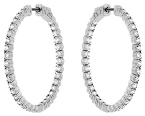 Avi and Co 2.10 cttw Round Brilliant Diamond Inside-Outside Hoop Earrings 14K White Gold