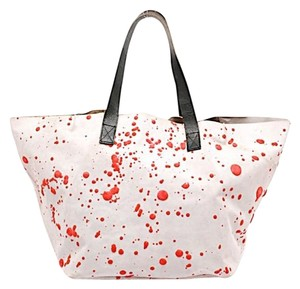 Saisai Suede Splatter Tote in Grey with coral