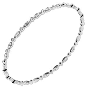 Avi and Co 2.88 cttw Round Brilliant Cut Diamond Bangle Bracelet 14K White Gold