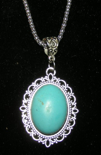 Bogo Free Turquoise Tibet Silver Antiqued Necklace Free Shipping