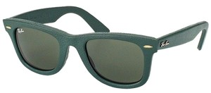 Ray-Ban Ray Ban RB2140QM-1170 Wayfarer Leather Green/Green Lens Sunglasses