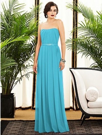 Dessy Turquoise (Blue) Chiffon 2886 Formal Bridesmaid/Mob Dress Size 2 (XS)
