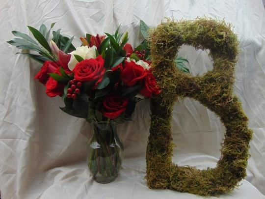 Set Of 2(20 Inch) Large Moss Covered Monogram Letters Wedding Door Table Decor Venue Rustic French Woodsy Initial Wreath