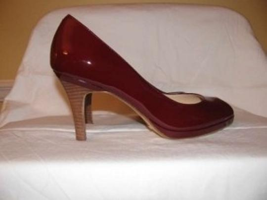 Cole Haan Nike Air Peep Toe Red Patent Leather Pumps
