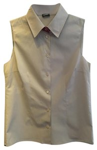 Jil Sander Sleeveless Red Button Down Shirt khaki