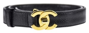 Chanel Chanel Vintage Black Caviar Leather CC Turnlock Thick Belt