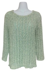 Alfred Dunner Scoop Neck Sparkle Crochet Large Sweater