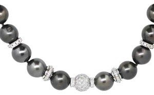14K White Gold 4.78Ct Diamond Black Tahitian Pearl Necklace 16