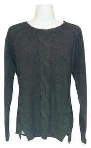 Style & Co Slits Charcoal Buttons Large Sweater