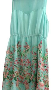 Forever 21 short dress Sky blue with colorful flowers on Tradesy