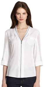 Elie Tahari Classic Crisp Sheer Trim Zipper Top White