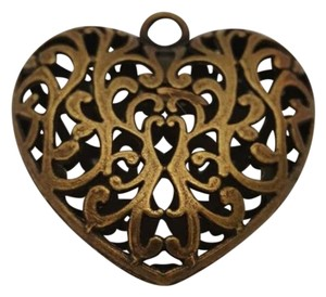 Other 50mmx50mm Brass Plated Caged Decorative Heart Pendant