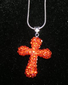 Rhinestone Orange Disco Cross Necklace Free Shipping