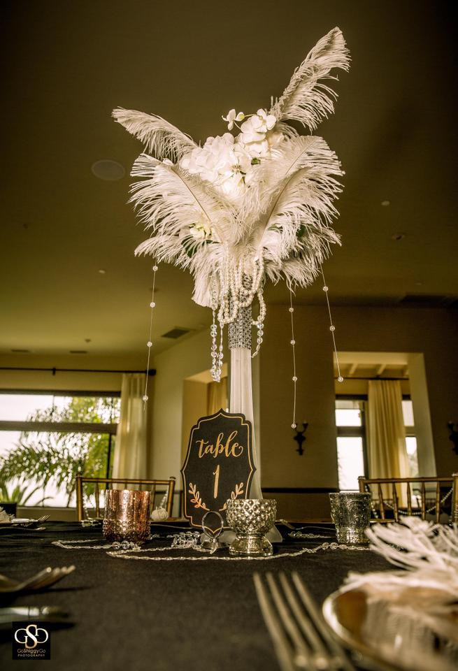 White Cream Ivory Feather Flower Frosted Eiffel Tower Vases