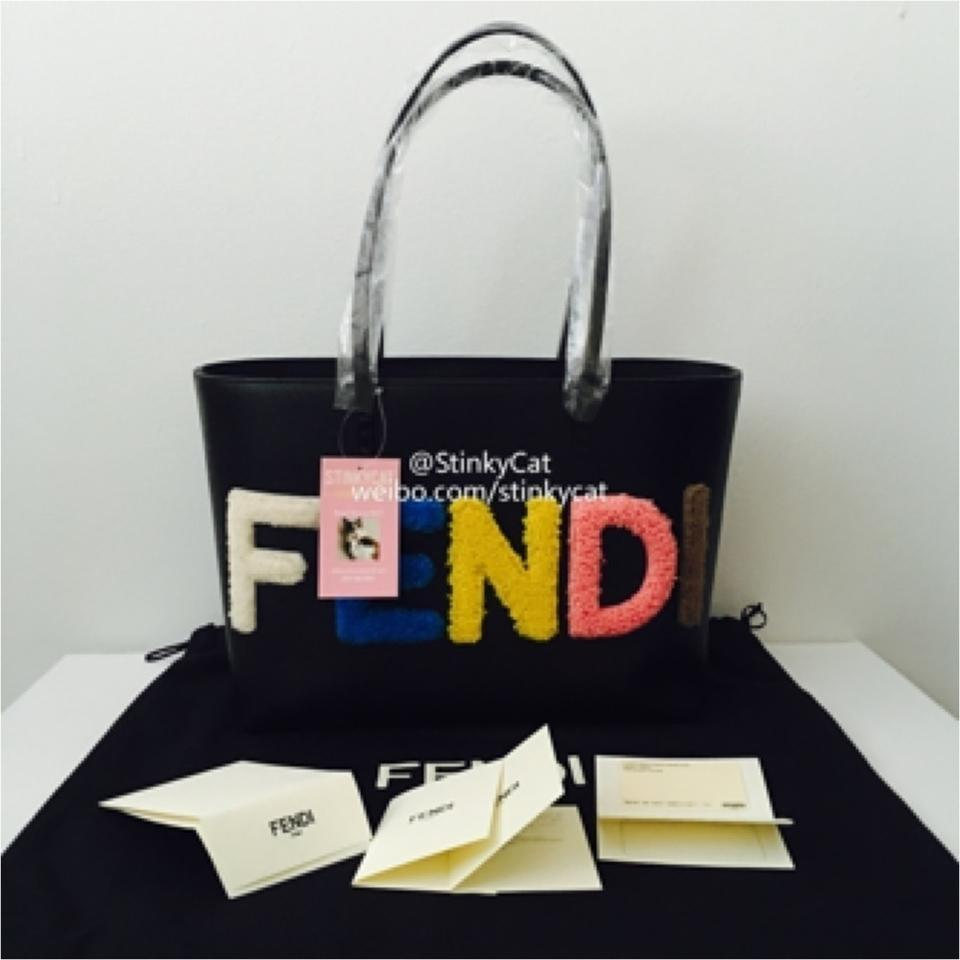 c5622d0c22a2 Fendi Fur Logo Small Roll Black Leather Shearling Tote - Tradesy