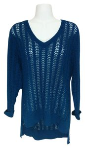 New York & Company Crochet V-neck Sheer Knit Sweater