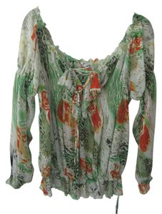 Unknown Peasant Open Size Top Green Multi