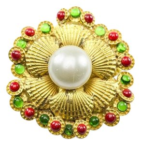 Chanel Chanel Vintage Gold Seashell Pearl Brooch