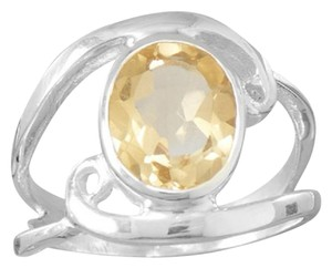 Sterling Collections Polished Cut Out Oval Citrine Ring with Swirls (available sizes 6-10) / size?