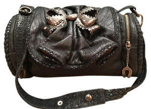 Betsey Johnson Hard To Find Satchel in RARE Kid Soft Black Leather with Insignia Large silver Bow