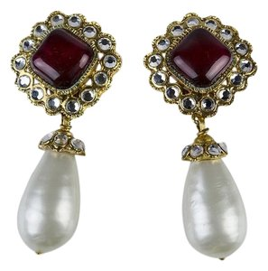 Chanel Chanel Vintage Ruby Pearl Earrings