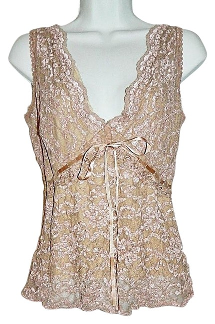 Item - Dark Nude Pinkish Taupe Stretch Lace Sleeveless Camisole Tank Top/Cami Size 12 (L)