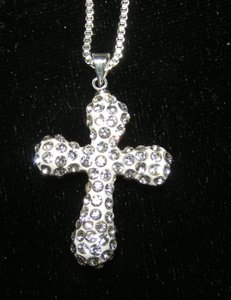 Silver Rhinestone Cross Necklace Free Shipping