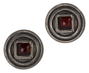Chanel Chanel Vintage Silver Red Center Round Earrings