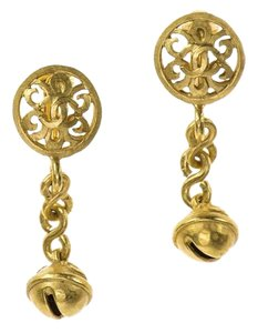 Chanel Chanel Vintage Gold Dangle Clip On Earrings