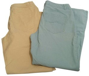 Talbots Corduroy Boot Cut Pants Light Yellow & Blue
