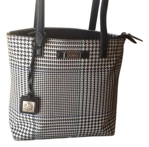 Genuine Ralph Lauren Houndstooth Navy leather Shoulder Bag
