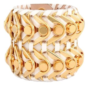 Balmain Large Off White Ariadna Leather Cuff Bracelet