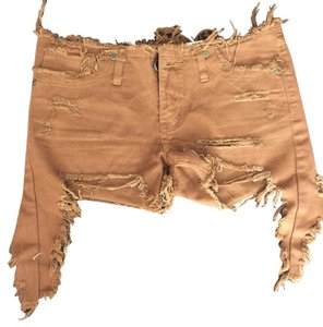 UNIF Destroyed Cut Off Shorts Brown